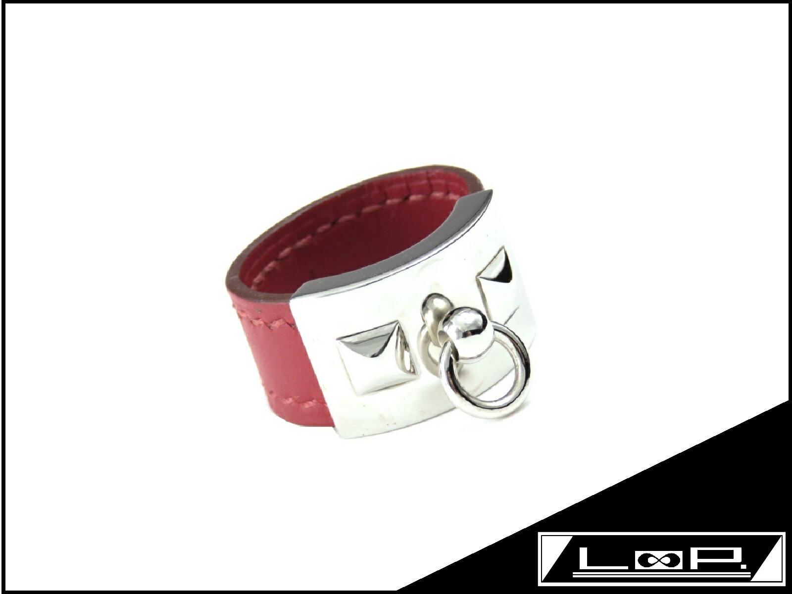 【美品】 HERMES エルメス コリエドシアン リング 指輪 アクセサリー レザー カーフ 革 レッド アカ 赤 シルバー 金具 SS L #18 【A18068】 【中古】