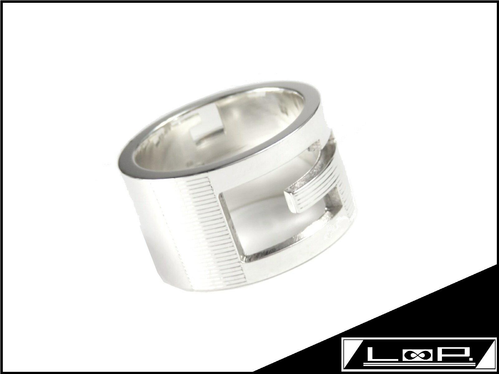 【美品】 GUCCI グッチ G ブランデッド ワイド リング 指輪 アクセサリーシルバー SV 925 【A18259】 【中古】