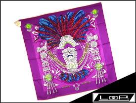 【未使用】 HERMES エルメス カレ 90 スカーフ 羽 ネックレス 首飾り シルク パープル 紫 【A21097】 【中古】
