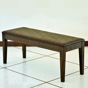アジアン アラムサリ ダイニングベンチ 2人掛け ブラウン シンセティックラタン 木製 チーク 完成品 ( 長椅子 ベンチチェア ダイニングチェア 家具 天然木 人工ラタン バリ リゾート インテ