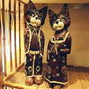 おしゃれな猫人形オブジェ  バリ アジアン雑貨 おしゃれ インテリア 木製 エスニック 置物 木彫り アニマル 動物 オブ…