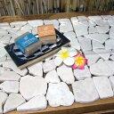 アジアン雑貨 ディスプレイ ストーンマット 30cm×30cm ホワイト 天然石 ( DIY 石畳 下敷き トレイ 置き物 置物 玄関 雑貨 バリ ハワイアン リゾート インテリア おしゃれ かわいい モダン バリ雑貨 )