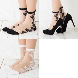 (3点購入で送料無料) バラ サイドライン 単色柄 シースルー クルーソックス (23-25cm)(日本製)(黒・白) 靴下 レディース