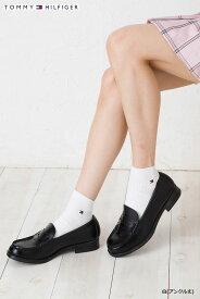 (3点購入で送料無料) TOMMY HILFIGER スクールソックス アンクル丈 日本製 (紺・白・黒)(23-25cm) トミーヒルフィガー ワンポイント 靴下 レディース
