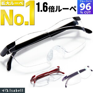 【楽天1位】メガネ型ルーぺ 拡大鏡 ルーペ 眼鏡型 1.6倍 拡大ルーペ ブルーライトカットメガネ 眼鏡型ルーペ 眼鏡 メガネ 読書用 おしゃれ 高性能 フレームレス