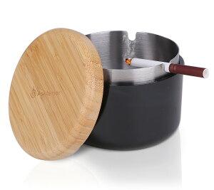 【公式】 Ashterior ステンレス × 木製 × PP の機能的融合 ふた付き 灰皿 大容量 卓上 屋外 にも アッシュテリア (ブラック)