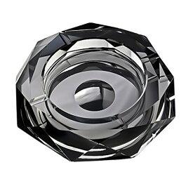 K9クリスタル製 灰皿 おしゃれ 卓上 卓中灰皿 空間演出に Diamond Cut クリスタル ガラス (ブラック)