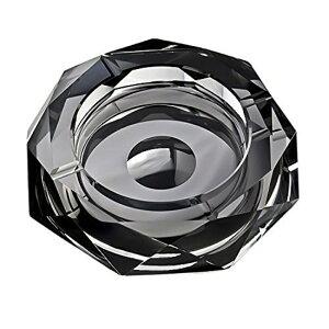 【公式】 Ashterior K9クリスタル製 灰皿 おしゃれ 卓上 卓中灰皿 空間演出に Diamond Cut クリスタル ガラス (ブラック)