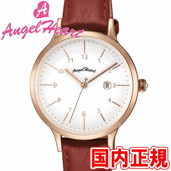 エンジェルハート 腕時計 レディース パステルハート 32mm ソーラー電池(太陽電池) ホワイトダイヤル/ピンクゴールド/レッドレザー スワロフスキー Angel Heart Pastel Heart PH32P-RD 安心の正規品 代引手数料無料 送料無料