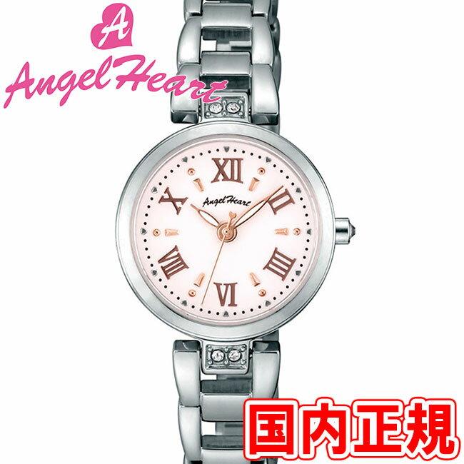 エンジェルハート レディース腕時計 スパークルタイム 24mm ソーラー電池(太陽電池) ホワイト/ピンクゴールド/シルバー メタルブレス スワロフスキー Angel Heart Sparkle Time ST24SP 安心の正規品 代引手数料無料 送料無料