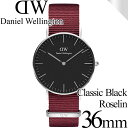ダニエルウェリントン 腕時計 クラシックブラック 36mm ロゼリン シルバー ブラック メンズ/レディース DW00100274 安…