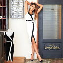 【送料無料】 キャバ ドレス キャバドレス ワンピース 大きいサイズ スリット バイカラー タイト ドレス S M L 白 黒 …