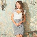 キャバ ドレス フリル袖 バイカラー ストライプ タイト ミニ ドレス | ドレス キャバ キャバドレス 大きいサイズ ドレ…