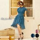 ドレス 結婚式 パーティードレス ワンカラー ギャザー シフォン Aライン ミニ ドレス [Petit Madeleine]  ドレス ワン…