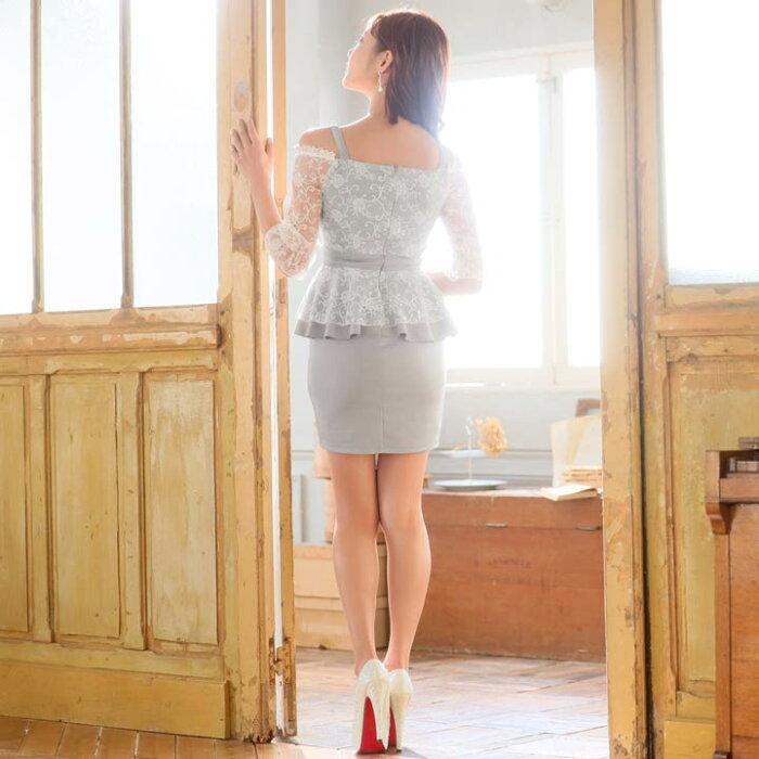 キャバドレスピュアレースオフショルダータイトミニドレス|ドレスキャバキャバドレス大きいサイズドレスワンピースミニドレスセクシーナイトドレスキャバクラレディースミニ丈女性大人ホステス水商売クラブ