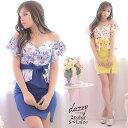 キャバ ドレス 花柄 オフショル ペプラム リボン タイト ミニ ドレス | ドレス キャバ キャバドレス 大きいサイズ ド…