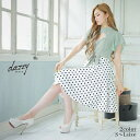 キャバ ドレス リボン 付 ドット柄 Aライン ミニ ドレス | ドレス キャバ キャバドレス 大きいサイズ ドレス ワンピー…