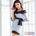 キャバ ドレス フレアスリーブ ウエストリボン タイト ミニ ドレス [mydress]| ドレス キャバ キャバドレス 大きいサ…