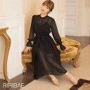 【スーパーSALE特価】 ドレス 結婚式 平子理沙プロデュース 星柄 刺繍 シフォン ワンピース ドレス [darial] [RIRIBAE…