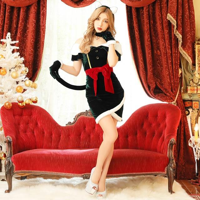 サンタコスプレグリーンキャットサンタ5点セット|サンタコスクリスマスコスプレサンタ衣装サンタコスプレセクシーレディースコスチューム大きいサイズパーティーサンタクロースかわいい2020年新作