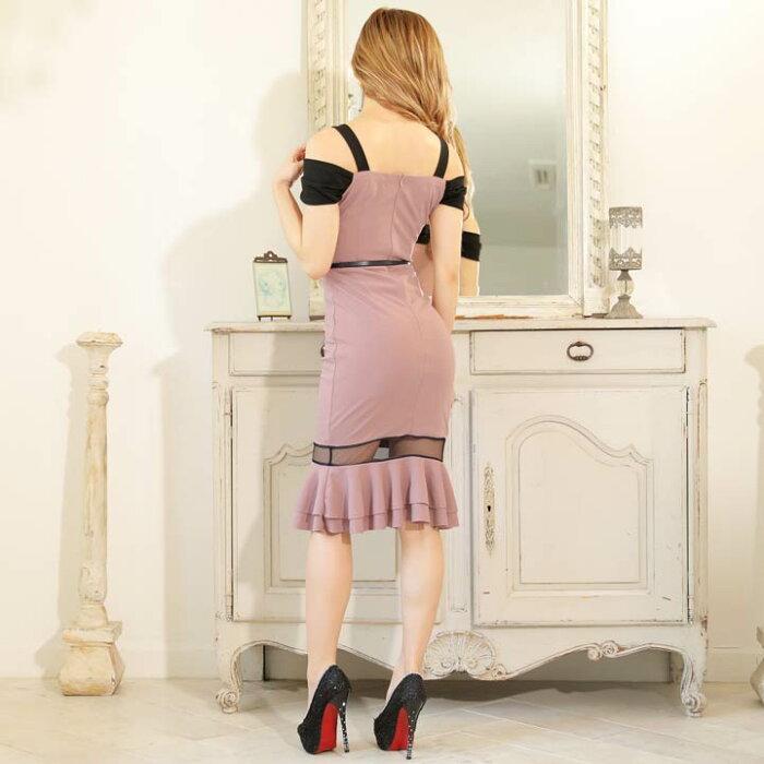 クロスオフショルマーメイドラインタイト膝丈ドレス|キャバキャバドレス大きいサイズドレスワンピース膝丈ドレスセクシーナイトドレスキャバクラレディース女性大人ホステス水商売クラブ