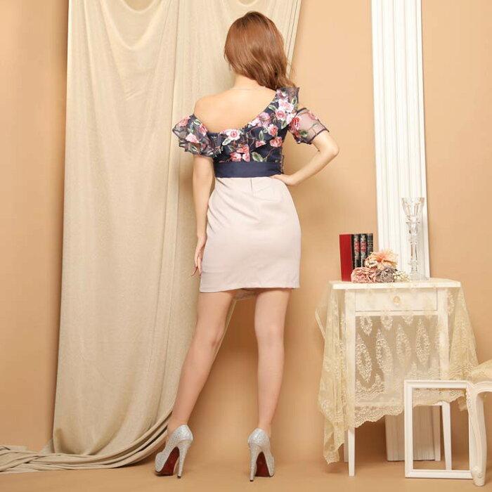 キャバドレスシアー×フラワー刺繍バイカラータイトミニドレス ドレスキャバキャバドレス大きいサイズドレスワンピースミニドレスセクシーナイトドレスキャバクラレディースミニ丈女性大人ホステス水商売クラブ