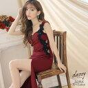 【500円OFFクーポン対象】 キャバ ドレス SEXY スリット フラワー モチーフ タイト ロング ドレス | ドレス キャバ キ…