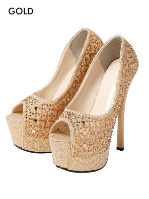 パンプスキャバ靴サンダルミュール厚底ヒール16cmレディースキャバドレス美脚前厚ストームモノトーンラインストーン[金銀白黒XSSMLサイズイベントキャバドレスsandaldazzyストア