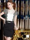 【あす楽】ドレス キャバ [SM/M/MLサイズ]パール&ビジュー付ベルト付スカラップ千鳥柄 タイトミニドレス[dazzyQueen][…
