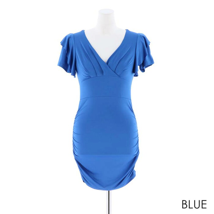 ドレスキャバキャバドレス大きいサイズSMLサイズフリルスリーブサイドシャーリングタイトミニドレスパーティー[dazzyQueen][赤ベージュピンク黒紫青紺][シンプル無地]lediesdressdazzyストア[1222再販]