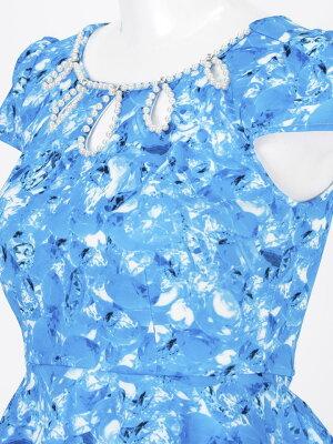 ドレスキャバドレスナイトドレス[SMMサイズ]デコルテカットビジュー柄ペプラムタイトミニドレス[dazzyQueen][桜井莉菜藤井リナ][ピンク青][ビジュー柄ビビッドカラー][大人女性][2サイズ展開]dazzyストア