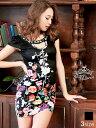 [05/18再販]【あす楽】ドレス キャバドレス ナイトドレス 大きいサイズ [S/M/Lサイズ]谷間ホール花柄タイトミニドレス…