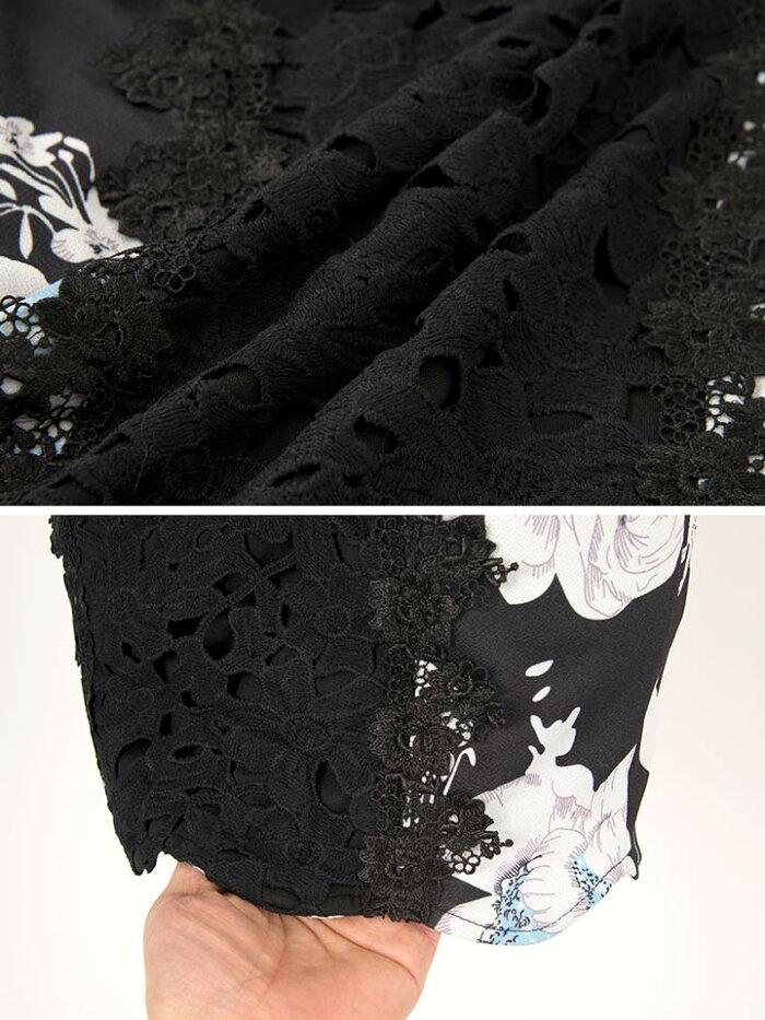 【あす楽】ドレスキャバドレスナイトドレス大きいサイズ☆[S/M/Lサイズ]センターレース花柄タイトミニドレス[dazzyQueen]●[中島ケイカ][白黒]パーティードレス/ワンピドレス[花柄][レディースladiesdress大人女性][3サイズ展開]