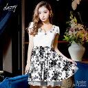 ドレス キャバドレス ワンピース 大きいサイズ S M L 胸元 スカラップ 花柄 Aライン ミニドレス フレア 花柄 モノトー…