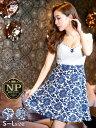 [05/18再販]【あす楽】ドレス キャバドレス ナイトドレス 大きいサイズ [S/M/Lサイズ]花柄Aラインミニドレス[dazzyQue…