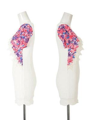 キャバドレスキャバドレス大きいサイズSML花柄刺繍付ピュアホワイトレイヤード風袖付きタイトミニドレスdazzyQueenタイトミニドレスピンク青紫白レディース女性大人dazzyストア