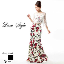 a7b7d3f93d740 ... LuxeStyle S M L デコルテ 腕透け見せウエスト 背中見せ薔薇柄七分袖マーメイドロングドレス 黒 薔薇柄 花柄 ローズ 大人  袖付き 七分袖 デイジーストア あす楽