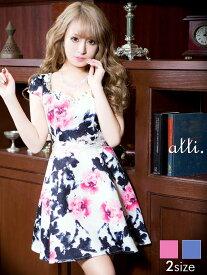 4292a1256420f ドレス キャバドレス ワンピース S M バックリボン付背中見せ花柄Aライン ミニドレス