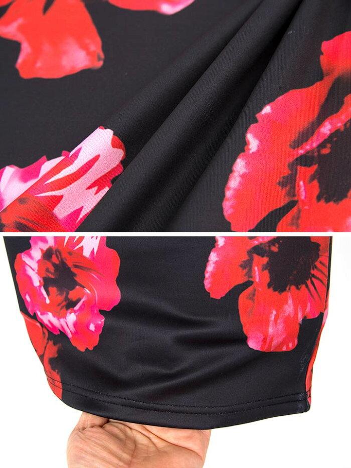 【あす楽】ドレスキャバドレス☆[S/Mサイズ]大花柄ベアペプラムタイトミニドレス[dazzylounge]●[山野井まやか][白黒赤]私服/ワンピース[花柄ビビッドカラー][レディースladiesdress大人女性春夏][2サイズ展開]