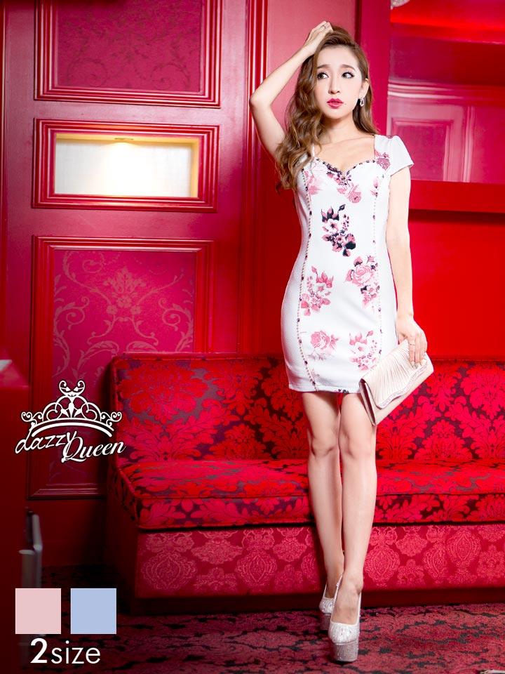 ドレス キャバドレス ナイトドレス ☆[S Mサイズ]パールビジューラインフラワーミニタイトドレス[dazzyQueen][杉山佳那恵][青 ピンク][花柄][レディース ladies dress 大人 女性][2サイズ展開]【あす楽】