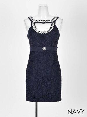 ドレスキャバドレスナイトドレス大きいサイズ[SMLサイズ]総レース谷間ホールカットタイトミニドレス[dazzyQueen][杉山佳那恵][白紺][シンプル無地谷間見せ][レディースdress大人女性][サイズ展開]dazzyストア