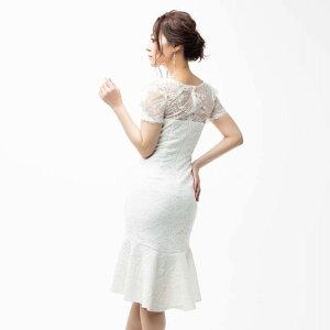 [送料無料]ドレスキャバドレスナイトドレス大きいサイズ[Alice][SMLサイズ]フルレースマーメイドミディアムキャバドレス[黒白赤][シンプル無地][レディースladiesdress大人女性][3サイズ展開]