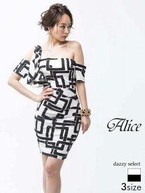 d8155dd5ff942  送料無料  ドレス キャバドレス ワンピース 大きいサイズ Alice S M L 幾何学柄ワンショル