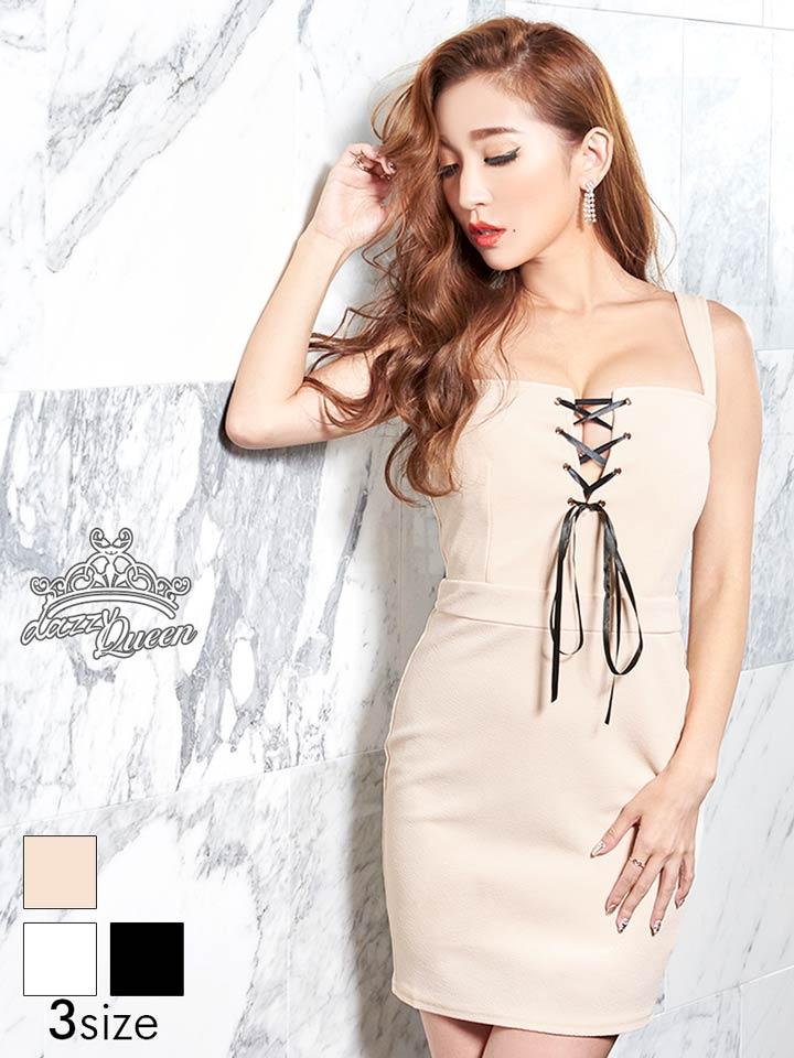 ドレス キャバドレス ワンピース ナイトドレス S M Lサイズ 胸元リボンノースリタイトミニドレス dazzyQueen 杉山佳那恵 ベージュ 白 黒 シンプル 無地 Beaute レディース 女性 dazzystore デイジーストア 【あす楽】