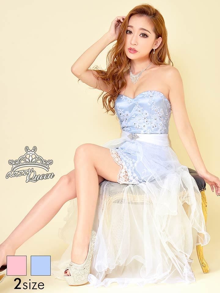 ドレス キャバドレス [S/Mサイズ]ロングテール巻きスカート付背中編み上げベアタイトミニドレス[dazzyQueen][杉山佳那恵][ピンク 青][シンプル パステル][レディース ladies dress 大人 女性][2サイズ展開] dazzy ストア 【 あす楽 】