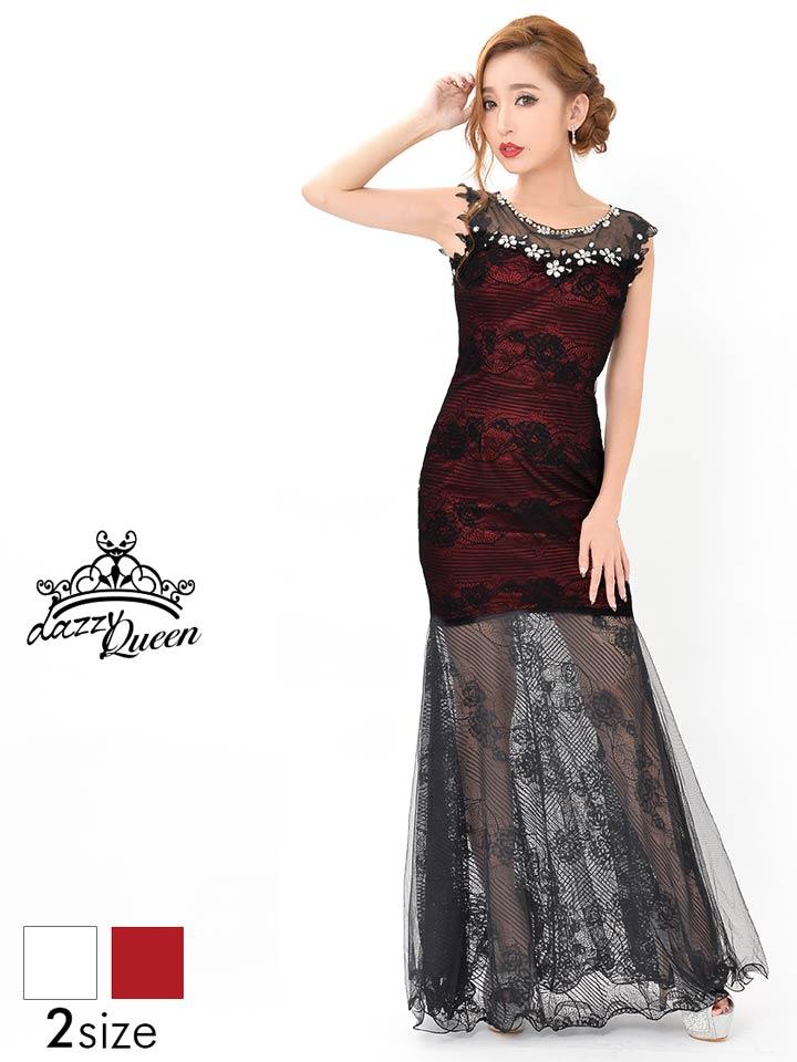 ドレス キャバ ミニ [S/Mサイズ]肌透け魅せブラック総レースロングドレス[dazzyQueen][杉山佳那恵][ベージュ ピーンク][くびれ バイカラー][レディース dress][2サイズ展開] dazzy ストア 【 あす楽 】