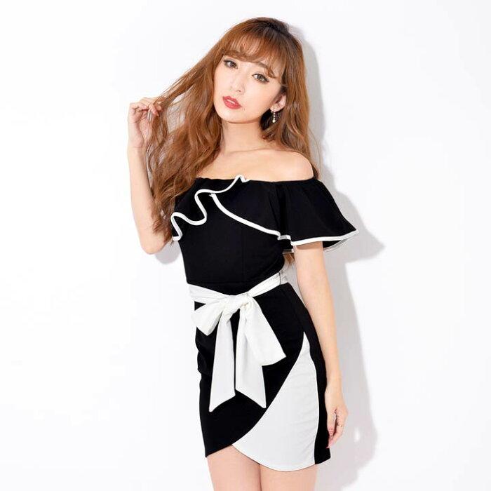 キャバドレスキャバドレスナイトドレス大きいサイズバイカラーフレアスリーブオフショルタイトミニドレスSMLサイズ白黒リボンシンプル無地杉山佳那恵レディースladiesdress大人女性dazzyストアdazzyQueen