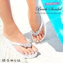 サンダル 靴 レディース ビーサン 厚底 8cm 大きいサイズ ビジューモチーフ付美脚ビーチサンダル 白 黒 XS S M L LL dazzy beach d...