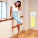 送料無料 キャバ ドレス キャバドレス ワンピース 大きいサイズ レース フリル バイカラー タイト ドレス S M L イエ…