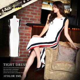 キャバ ドレス ミニ キャバドレス ワンピース 大きいサイズ t-Aceプロデュース サイドライン リブニット ノースリーブ タイト ドレス S M L 白 シンプル スリット レディース 女性 dazzyQueen デイジーストア あす楽